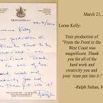 Ralph Sultan's letter + text, alt 1
